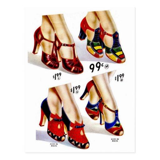 Retro Vintage Kitsch Fashion 40s Women's Shoes Postcards