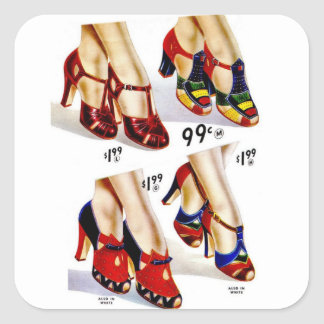 Retro Vintage Kitsch Fashion 40s Women's Shoes Square Sticker