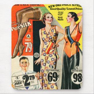 Retro Vintage Kitsch Fashion Catalog Art Mouse Pad