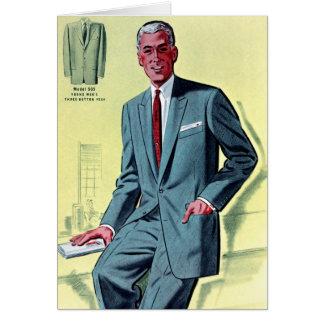 Retro Vintage Kitsch Fashion Men's Suit Greeting Card