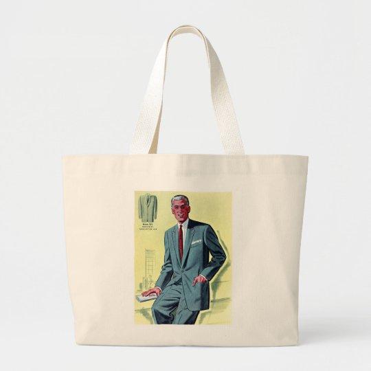 Retro Vintage Kitsch Fashion Men's Suit Large Tote Bag