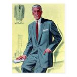 Retro Vintage Kitsch Fashion Men's Suit Postcards
