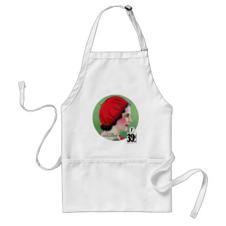 Retro Vintage Kitsch Fashion Red French Beret Ad Adult Apron