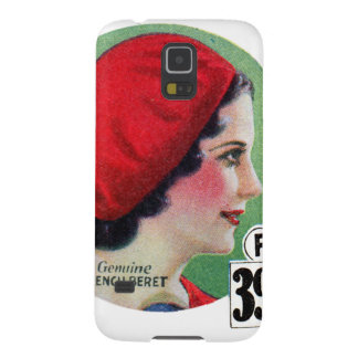 Retro Vintage Kitsch Fashion Red French Beret Ad Galaxy S5 Covers