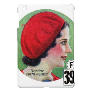 Retro Vintage Kitsch Fashion Red French Beret Ad iPad Mini Cases