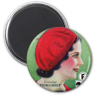 Retro Vintage Kitsch Fashion Red French Beret Ad Magnet