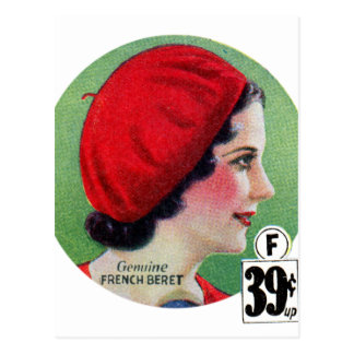 Retro Vintage Kitsch Fashion Red French Beret Ad Postcard