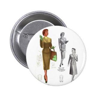 Retro Vintage Kitsch Fashion Women's Wear 2 Inch Round Button