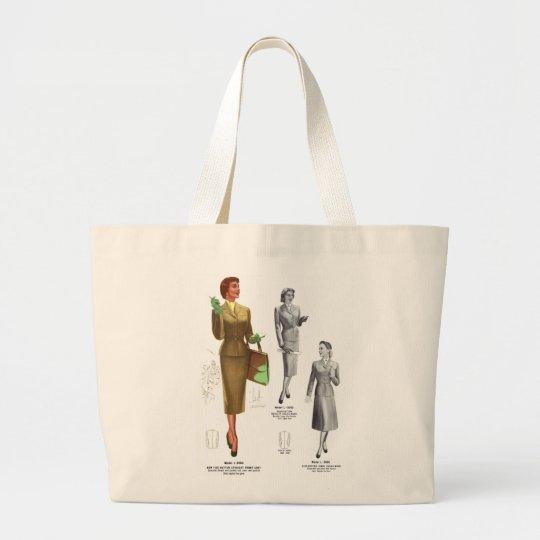 Retro Vintage Kitsch Fashion Women's Wear Large Tote Bag