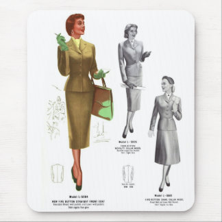 Retro Vintage Kitsch Fashion Women's Wear Mouse Pad