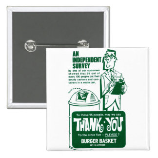 Retro Vintage Kitsch Fast Food Hamburger Thank You Pinback Button