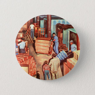 Retro Vintage Kitsch Fifties Factory Manager Dad Pinback Button