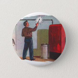 Retro Vintage Kitsch Fifties Homerepair DIY Guy Pinback Button