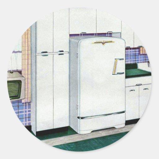 Retro Vintage Kitsch Fifties Kitchen Refridgerator Classic Round Sticker