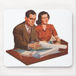Retro Vintage Kitsch Fifties Suburbs House Plans Mouse Pad