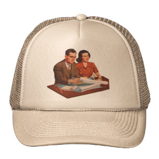 Retro Vintage Kitsch Fifties Suburbs House Plans Trucker Hat