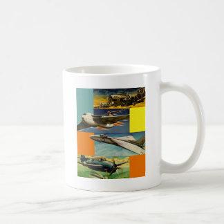 Retro Vintage Kitsch Fighter Jets Illustrations Coffee Mug