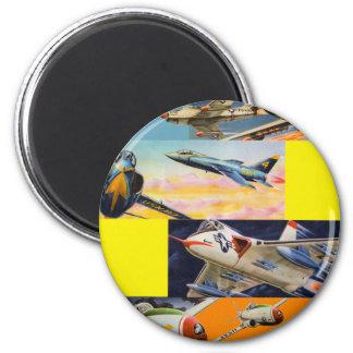 Retro Vintage Kitsch Fighter Jets Illustrations Magnet