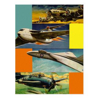 Retro Vintage Kitsch Fighter Jets Illustrations Postcard