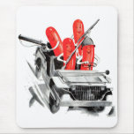 Retro Vintage Kitsch Fighting Frankurters Hot Dogs Mouse Pad