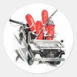 Retro Vintage Kitsch Fighting Frankurters Hot Dogs Sticker