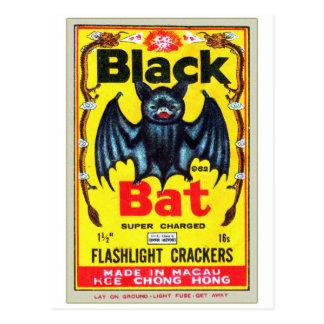 Retro Vintage Kitsch Firecracker Black Bat Brand Postcard