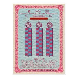 Retro Vintage Kitsch Firecracker Label  3 Strands Postcard