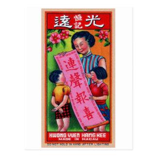 Retro Vintage Kitsch Firecracker Label Happy Kids Postcard