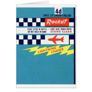 Retro Vintage Kitsch Firework Bottle Rocket Label Card