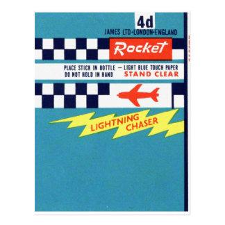Retro Vintage Kitsch Firework Bottle Rocket Label Postcard