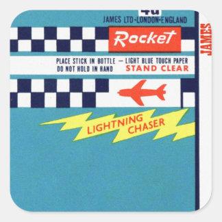 Retro Vintage Kitsch Firework Bottle Rocket Label Square Sticker