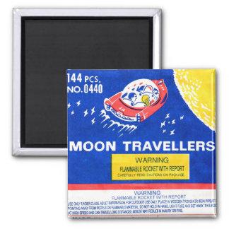 Retro Vintage Kitsch Firework Rocket Moon Traveler Magnet