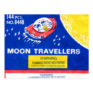 Retro Vintage Kitsch Firework Rocket Moon Traveler Postcard