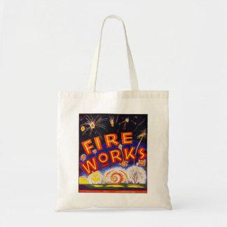 Retro Vintage Kitsch Fireworks Firecracker Sign Bag