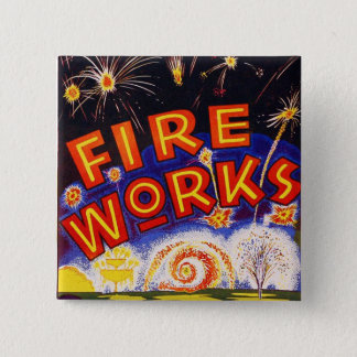 Retro Vintage Kitsch Fireworks Firecracker Sign Pinback Button