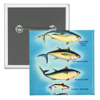 Retro Vintage Kitsch Fish Blue Fin Tuna Fish Art Pinback Button