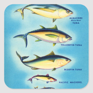 Retro Vintage Kitsch Fish Blue Fin Tuna Fish Art Square Sticker