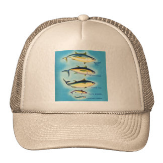 Retro Vintage Kitsch Fish Blue Fin Tuna Fish Art Trucker Hat