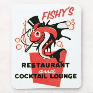 Retro Vintage Kitsch Fishy's Cocktails Restaurant Mouse Pad