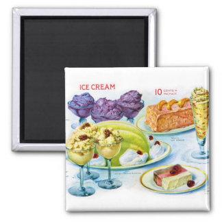 Retro Vintage Kitsch Food 30s Gelatin Desert Art 2 Inch Square Magnet