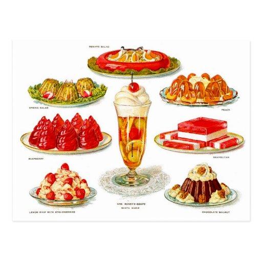 Retro Vintage Kitsch Food 30s Gelatin Desert Art Postcards