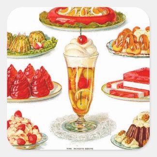 Retro Vintage Kitsch Food 30s Gelatin Desert Art Square Sticker