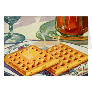 Retro Vintage Kitsch Food 40s Nutty Waffles Art Greeting Cards