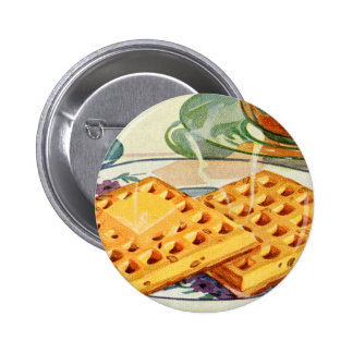 Retro Vintage Kitsch Food 40s Nutty Waffles Art Pinback Button