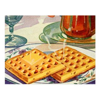 Retro Vintage Kitsch Food 40s Nutty Waffles Art Postcard