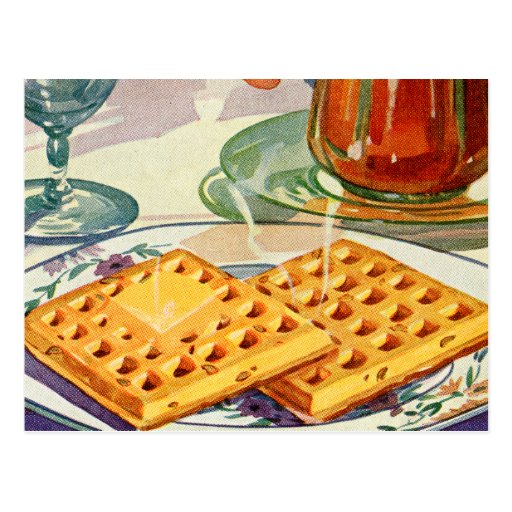 Retro Vintage Kitsch Food 40s Nutty Waffles Art Post Card