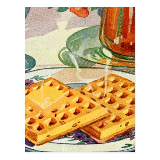 Retro Vintage Kitsch Food 40s Nutty Waffles Art Postcards
