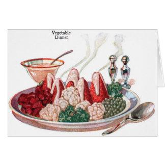 Retro Vintage Kitsch Food 50s Vegetable Dinner Art Greeting Card