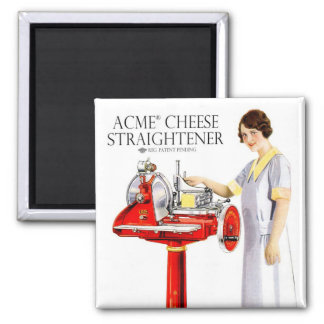 Retro Vintage Kitsch Food Acme Cheese Straightener 2 Inch Square Magnet