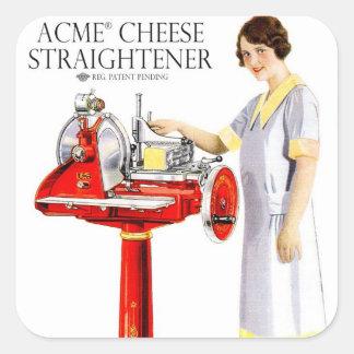 Retro Vintage Kitsch Food Acme Cheese Straightener Square Sticker